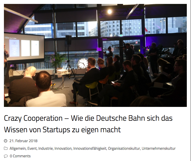 Article about collaborations of startups like Geospin and companies like Deutsche Bahn